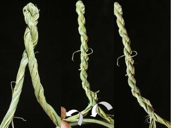 Folding of the twisted fibers (left), adding some fibers